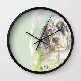 ENGLISH SETTER PUPPY Cute dog portrait on the dandelions meadow Wall Clock