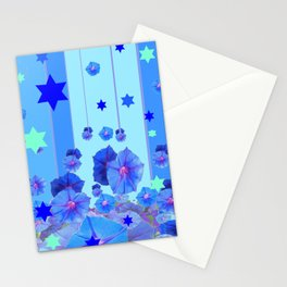 STARS & BLUE MORNING GLORIES RAIN POP ART Stationery Cards