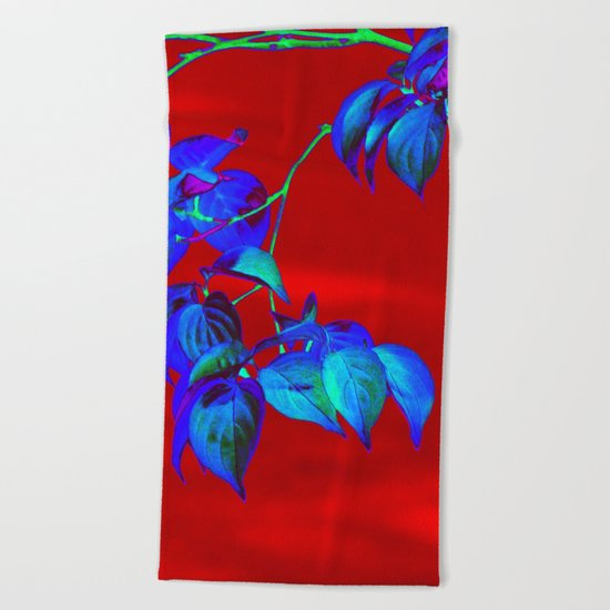 Red Sky And Blue Leaves Beach Towel