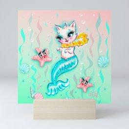 Tropical Merkitten with Lei and Starfish Mini Art Print