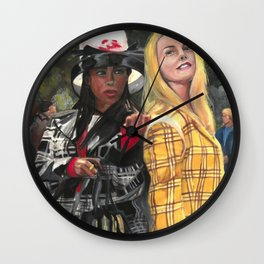 Clueless Movie Drawings Feminist Icon Portrait Wall Clock