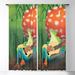 Tree frog singing and playing guitar in a mushroom Blackout Curtain