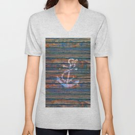 Nautical blue pink watercolor rustic wood white anchor Unisex V-Neck