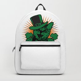 St. Patrick`s Day funny green Cat Cloverleaf Gift Backpack