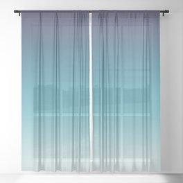 Blue White Gradient Sheer Curtain