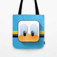 donald duck Tote Bags featuring donald duck by designoMatt