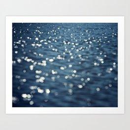 Water Sparkles Photography, Sparkly Ocean, Dark Sea Moonlight Art Print