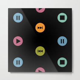 Music Player Icons Polka Dots (Multicolor on Black) Metal Print