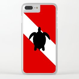 Diving Flag: Sea Turtle Clear iPhone Case