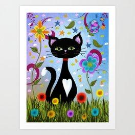 Cat Sitting Among Flowers Abstract Art Art Print