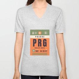 Baggage Tag A - PRG Prague Vaclav Havel Czech Republic Unisex V-Neck