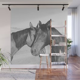 Horse Hug in Black and White Wall Mural