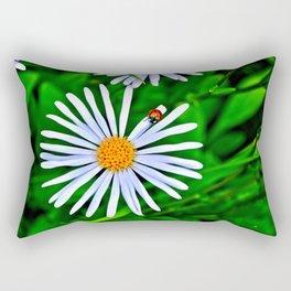 Blue daisy and a ladybird Rectangular Pillow