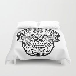 Vintage Mexican Skull with Bicycle - black and white Duvet Cover