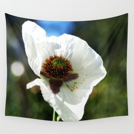 White Poppy in a field Wall Tapestry