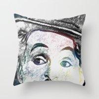 chaplin Throw Pillows featuring Chaplin by Marian - Claudiu Bortan