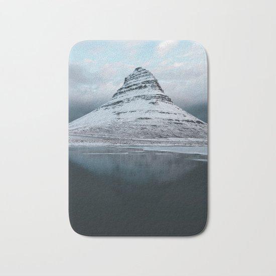 Iceland Mountain Reflection - Landscape Photography Bath Mat