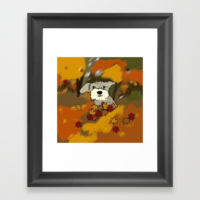 Buck The Schnauzer In Fall Leaves Framed Art Print