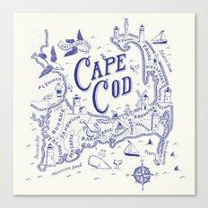 Cape Cod Map Canvas Print