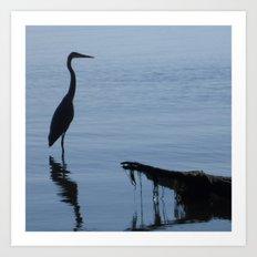 Pretty Blue Lake With A Heron  Art Print