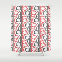 maori Shower Curtains featuring Maori Kowhaiwhai Distressed Pattern by mailboxdisco