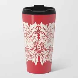 William Morris Style Victorian Christmas Bunnies Travel Mug