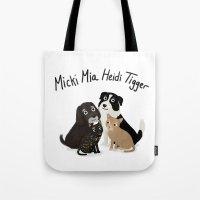 "tigger Tote Bags featuring Custom Artwork, ""Micki Mia Heidi Tigger"" by Cassandra Berger"