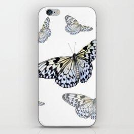 DESIGN OF FLUTTERING BLACK & WHITE BUTTERFLIES  ART iPhone Skin