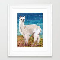 alpaca Framed Art Prints featuring Alpaca by GiGi Garcia Collages