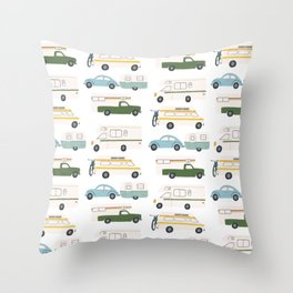 Vintage RV Motorhome Trailers Campers Throw Pillow