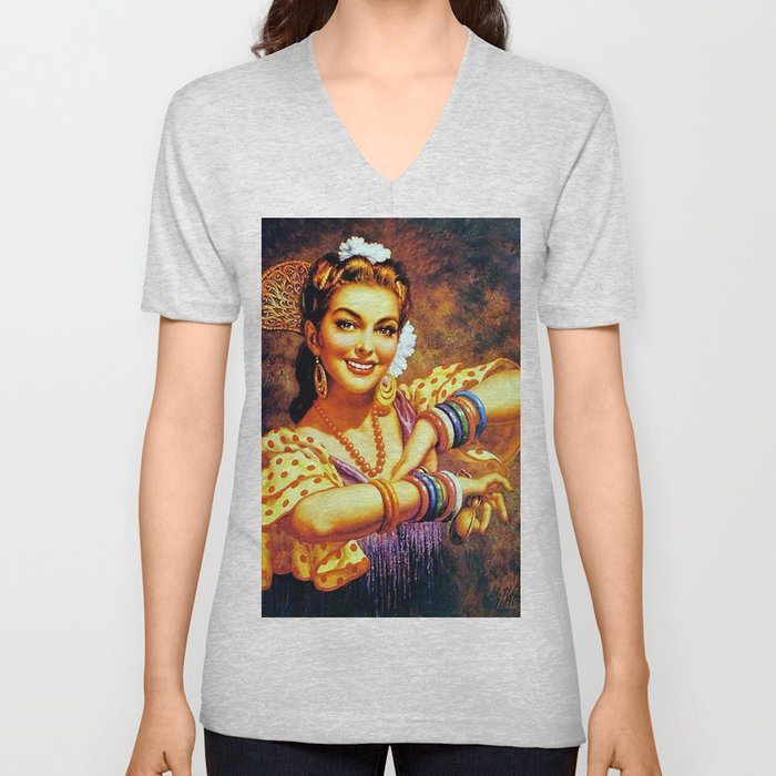 Jesus Helguera Painting of a Mexican Calendar Girl with Bangles Unisex V-Neck