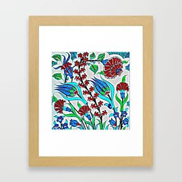 An Ottoman Iznik style floral design pottery polychrome, by Adam Asar, No 44f Framed Art Print