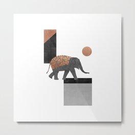 Elephant Mosaic I, Geometric Animal Metal Print
