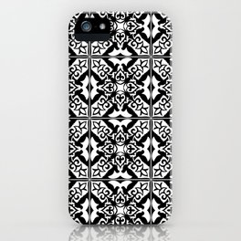 Moroccan Tile Pattern in Black and White iPhone Case
