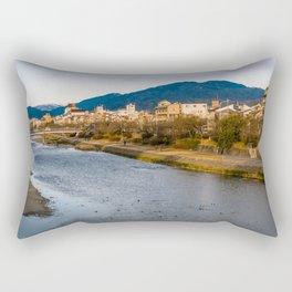 Panoramic view of Kamo River in Kyoto Rectangular Pillow