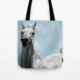 Arabian White Horse Painting Tote Bag