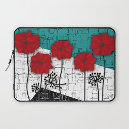 Applique. Poppies on turquoise black white background . Laptop Sleeve