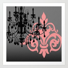 Chandelier & Damask Silhouettes Art Print