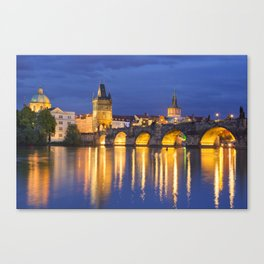 The Charles Bridge in Prague, Czech Republic at night Canvas Print
