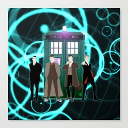The Doctors And Tardis Canvas Print