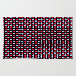 Red and Blue, and Black All-over Rug