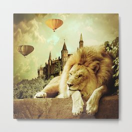 Lion Visits the Castle Metal Print