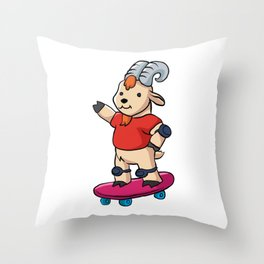 Goat With Skateboard. Throw Pillow