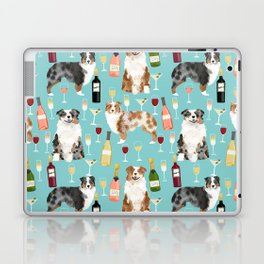 Australian Shepherd blue and red merle wine cocktails yappy hour pattern dog breed Laptop & iPad Skin