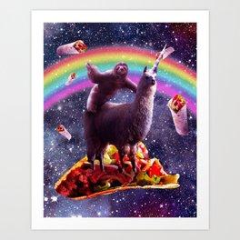 Sloth Riding Llama Art Print