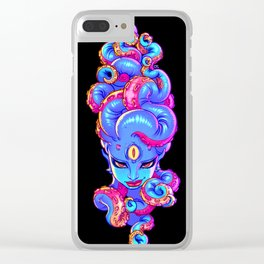 Tentacle Demoness (BLUE version) Clear iPhone Case