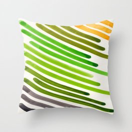 Neon Green Yellow Watercolor Colorful Stripes Mid Century Modern Art Primitive Abstract Art Throw Pillow