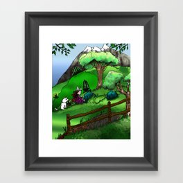 Magical herbs picking Framed Art Print