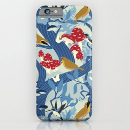 North American Forest Pattern (Blues) iPhone Case