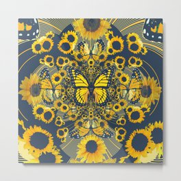 YELLOW MONARCH BUTTERFLY & GREY MODERN FLORAL ART Metal Print